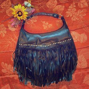 Aldo Faux Leather Fringe Boho Bag
